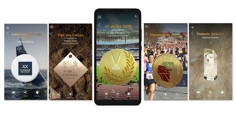 5 écrans de l'application Air Trophy montrant différentes médailles